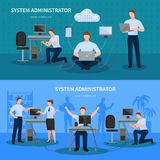 System Administrator Banners Set. System administrator horizontal banners set with computer symbols flat  vector illustration Royalty Free Stock Photography