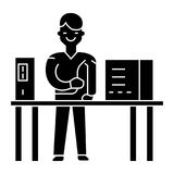 System administrator icon, vector illustration, black sign on isolated background. System administrator icon, illustration, vector sign on isolated background Royalty Free Stock Images