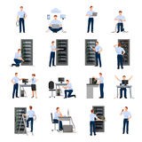 System Administrator Icons Set. System administrator flat icons set of server racks and network engineers involved in maintenance of system modules  vector Royalty Free Stock Photography