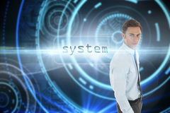 System against futuristic technological background Royalty Free Stock Photography