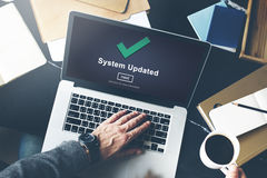 System aktualisiertes Computer-Verbindungs-Daten-Konzept Stockbilder