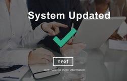 System Aktualizujący ulepszenie dane Nowy Internetowy pojęcie zdjęcie stock