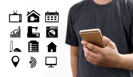 System app Remote home control system on phone Real estate conce. Pt Royalty Free Stock Photo