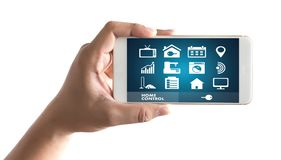 System app Remote home control system on phone Real estate conce. Pt Royalty Free Stock Photos