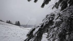 System of Artificial Snowmaking stock video footage