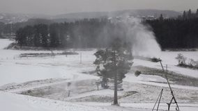 System of artificial snowmaking stock video