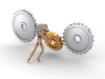System Assist. A gear being put into place for the system to work Stock Image