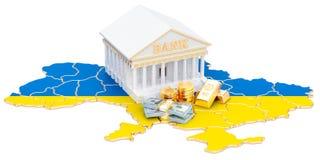 System bankowy w Ukraina pojęciu świadczenia 3 d ilustracji