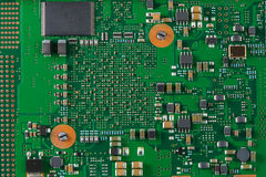 System board with microchips and transistors Royalty Free Stock Photography