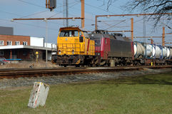 System Change. This is Padborg, the border railway station between Denmark an Germany. Electric trains face a system change between 25.000Volts 50C/s to 15.000 Stock Image