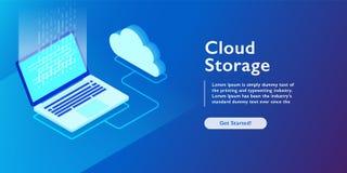 System of cloud storage, laptop uploading data, backup information isometric vector illustration. Cloud storage, laptop uploading data, backup information stock illustration