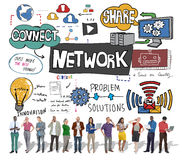System Conce för teknologi för anslutning för globala kommunikationer för nätverk royaltyfria bilder