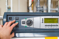 System control panel gas boiler hand stop Royalty Free Stock Image