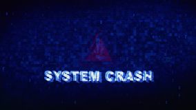 SYSTEM CRASH Text Digital Noise Twitch Glitch Distortion Effect Error Animation. SYSTEM CRASH Text Digital Noise Glitch Effect Tv Screen Background. Login and stock video