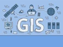 System der geografischen Information, flache Linie Konzept der GIS Vektorillustration auf blauem Hintergrund horizontal vektor abbildung