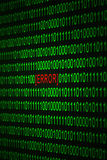 System Error. Green binary code on black background with red error code and selective focus Royalty Free Stock Photos