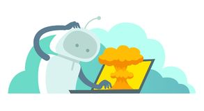 System error in laptop epic fail. Atomic bomb explosion nuclear. Robot and bug in the computer. Oops. Vector illustration vector illustration