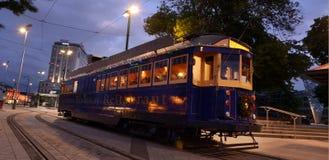 System för Christchurch spårvägspårvagn - Nya Zeeland Arkivbild