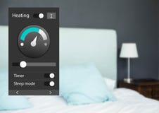 System för hem- automation som värmer App-manöverenheten arkivfoton