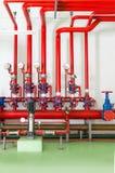 System för stridighet för vattenspridare- och brandlarm arkivfoto