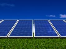 system för sun för gröna paneler för energi sol- Royaltyfri Bild