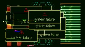 System failure pop ups with on-off signal, application error. Animation. System failed messages all over the computer stock illustration