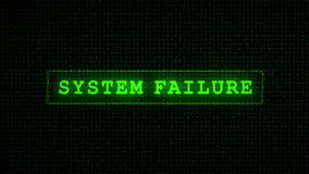 System Failure Text - Digital Data Code Matrix Stock Photos