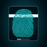 System of fingerprint scanning - biometric security devices. Fingerprint scanning - digital security system, access Stock Photos