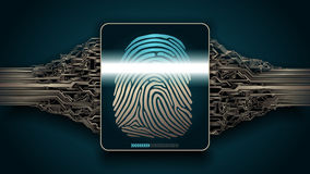 The system of fingerprint scanning - biometric security devices. Fingerprint scanning - digital security system, access Stock Image