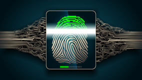 The system of fingerprint scanning - biometric security digital. Fingerprint scanning - digital security system, access Stock Image