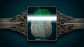 The system of fingerprint scanning - biometric security digital. Fingerprint scanning - digital security system, access Stock Photo