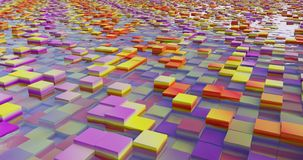 A system of flooded colorful cubes. A beautiful view of a flooded cubes landscape with many color and a water like glass Royalty Free Stock Photography