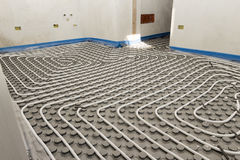 System floor radiant. With polyethylene pipes stock photos
