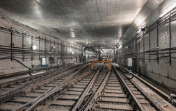 System forks railway tracks in the modern subway tunnel Stock Photography