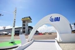 System för försvar för Israel Aerospace Industries (IAI) luft BARAK-8 och missilpå Singapore Airshow 2012 Arkivbilder