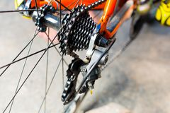 System gear on the rear wheel and chain tension Royalty Free Stock Photos