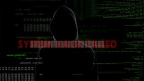 System hack failed, unsuccessful attempt to crack password, angry criminal. Stock footage stock video