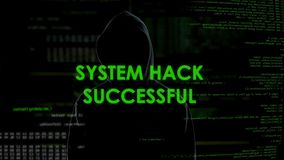 System hack successful, code breaking operation, programmer cracked password stock video