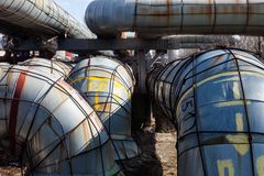 System of heating pipelines Royalty Free Stock Photos