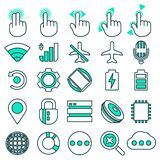 System icons,gesture control icons in thin line style. stock photos