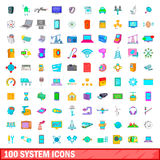 100 system icons set, cartoon style. 100 system icons set in cartoon style for any design vector illustration royalty free illustration