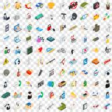 100 system icons set, isometric 3d style Royalty Free Stock Images
