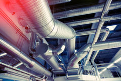 System of industrial ventilating pipes Stock Photography