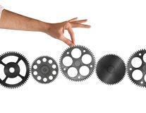 System of integration. Gear added between other part of gears stock photos