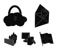 System, internet, connection, code .Hackers and hacking set collection icons in black style vector symbol stock. Illustration Royalty Free Stock Photo