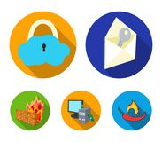 System, internet, connection, code .Hackers and hacking set collection icons in flat style vector symbol stock. Illustration Stock Images