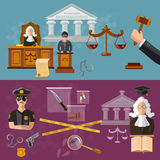 System of justice banner courtroom the defendant and the judge. Law vector illustration Royalty Free Stock Photo
