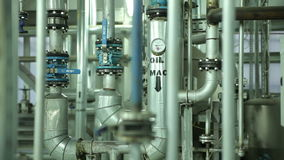The System in Manufacturing Metal Pipe stock video footage