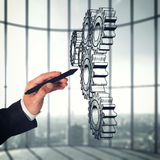 System of a mechanism gears. Strategy business company Royalty Free Stock Photo