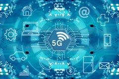 system och internet för nätverk 5G trådlösa royaltyfri bild